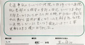 大田区 交通事故での肩の痛み S.Mさん(70代男性)