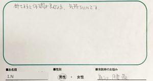 大田区 鍼灸 I.Nさん(60代男性)